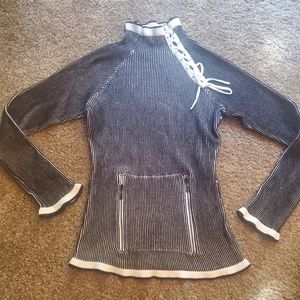 NILS Sweater Laced Up Neck Size Small